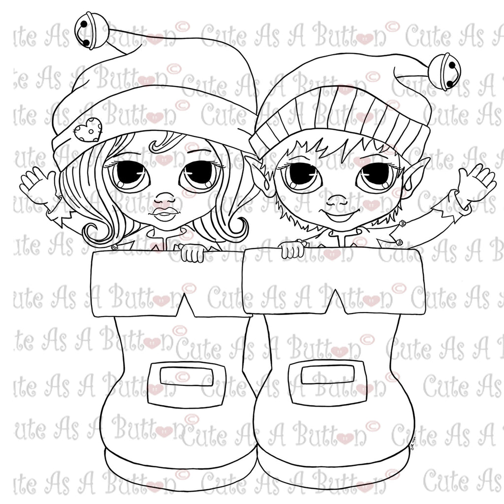 Cute As A Button Stamps Elves in Boots Digistamp