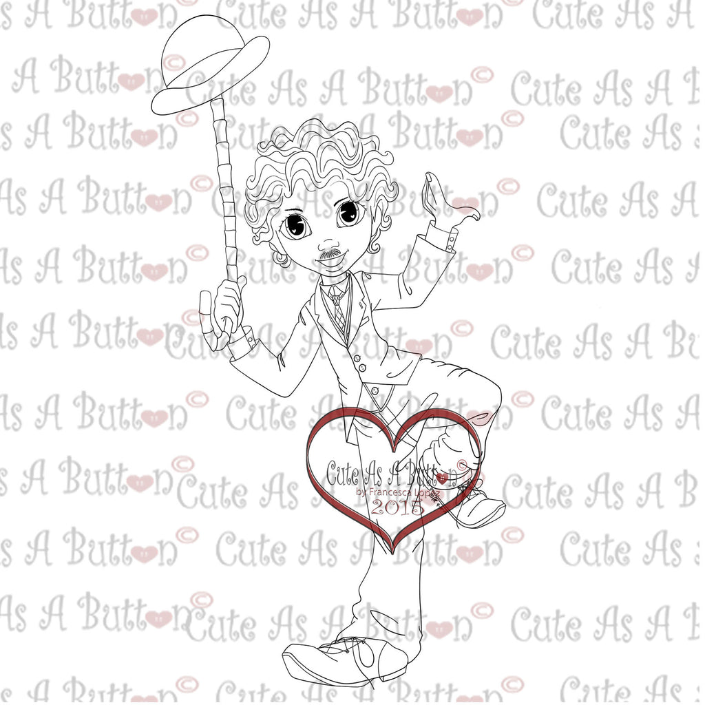 Cute As A Button Digistamps IMG00316 Chappy Digital Digi Stamp
