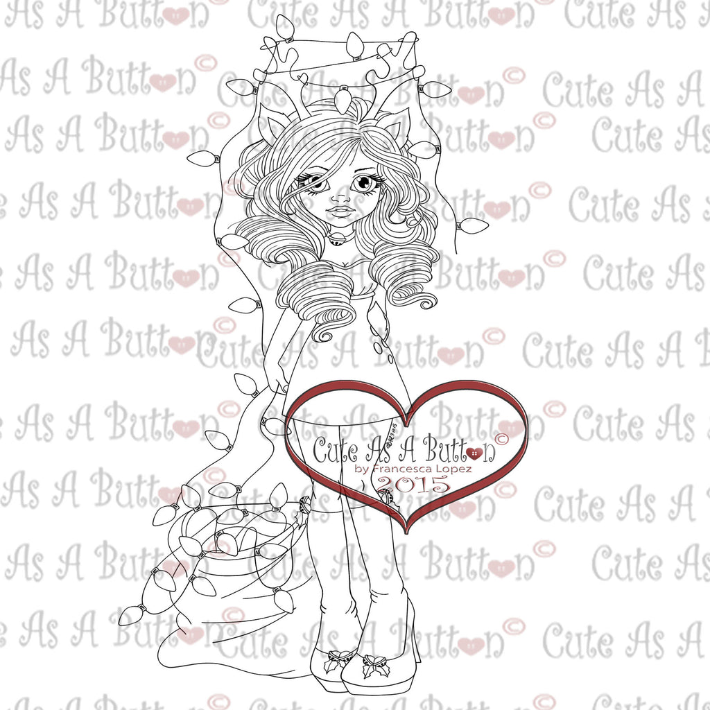 Cute As A Button Digistamps IMG00317 Tangled Lights Digital Stamp