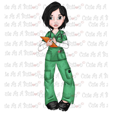IMG00046 Pre-Colored Nurse Genevieve-Asian Digital Digi Stamp