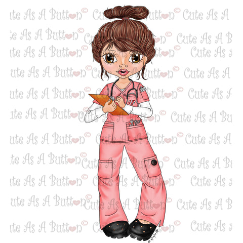 IMG00046 Pre-Colored Nurse Genevieve-Latina Digital Digi Stamp