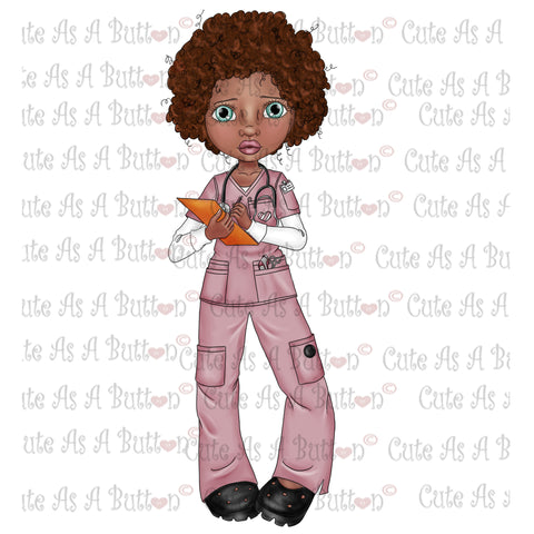 IMG00046 Pre-Colored Nurse Genevieve-African American Digital Digi Stamp