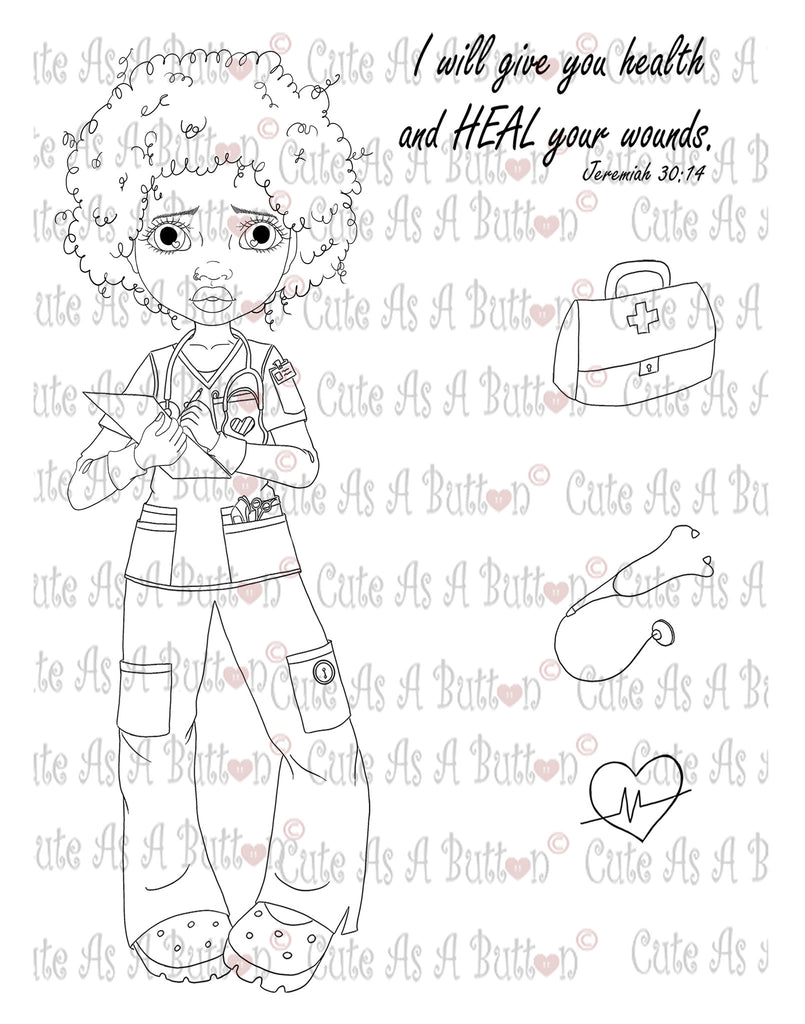 Cute As A Button IMG00046 Nurse Gen African American Digital Digi Stamp