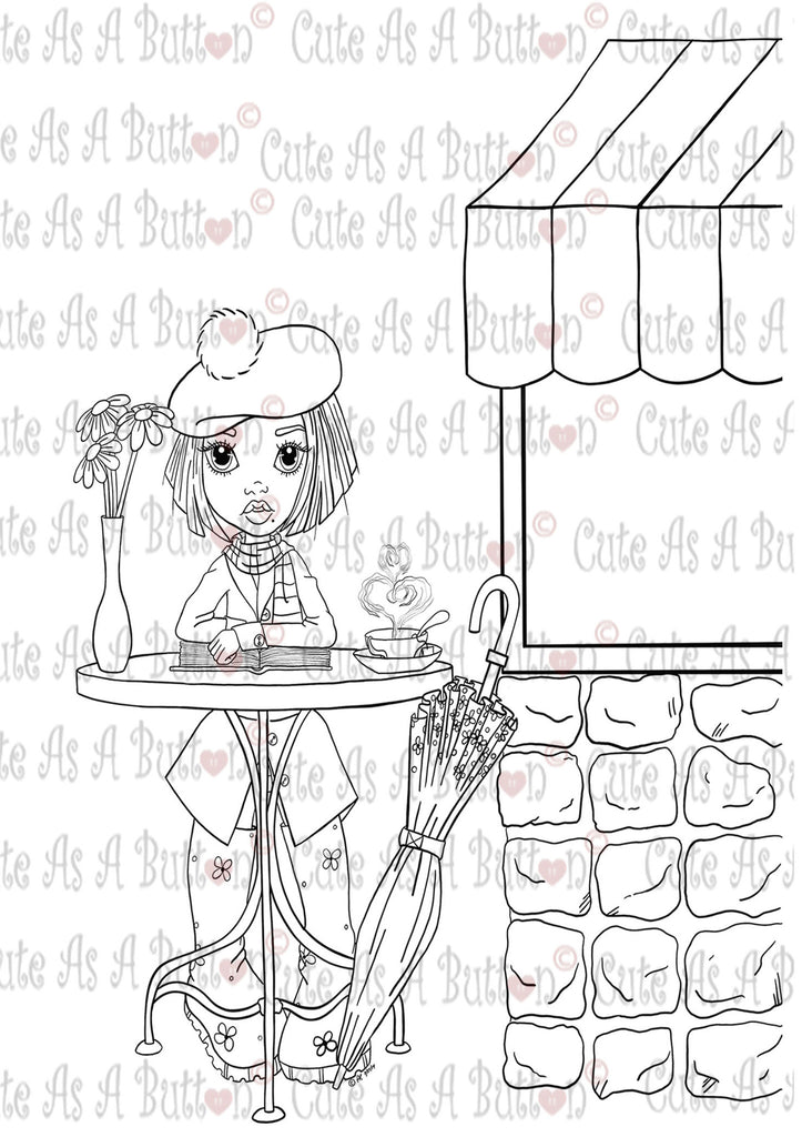 Cute As A Button Stamp Paris Tea Digistamp