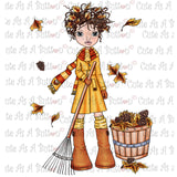 Cute As A Button Digistamps IMG00110 Pre-Colored Fall Fun Digital Stamp