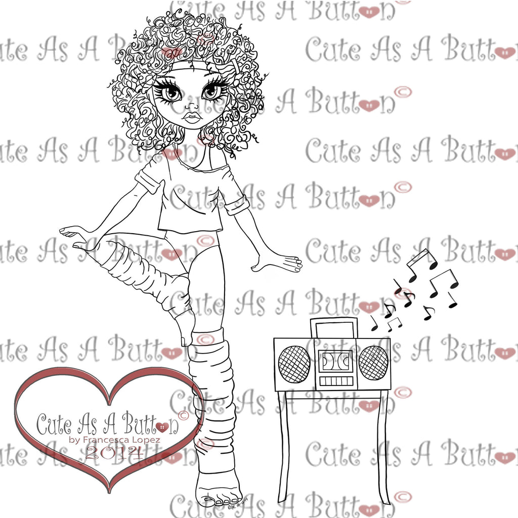 Cute As A Button Digistamps IMG00112 Flashdance Digi Stamp