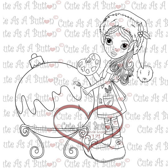 Cute As A Button Digistamps IMG00129 Christmas Ornament Digital Digi Stamp
