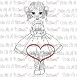 Cute As A Button Stamps Girl Holding Snow Globe Digistamp