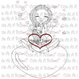 Cute As A Button Stamps Valentine Kisses Digistamp