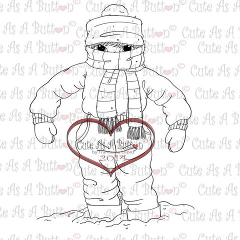 Cute As A Button digistamos It's Cold Outside Bundled Up Boy digistamp