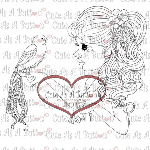 Cute As A Button Digistamps IMG00276 Birds of A Feather Digital Digi Stamp