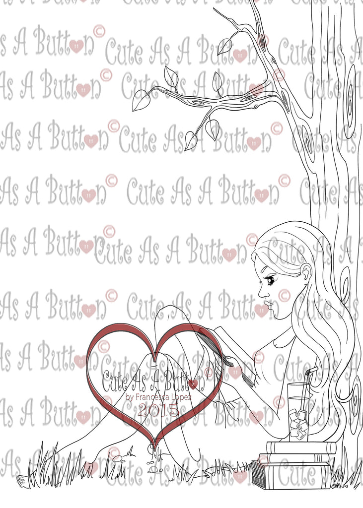 Digital Stamps - Cute As A Button Stamps IMG00296 Summer Reading Digi Stamp