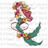 Cute As A Button Digistamps IMG00308 Seaweed Mermaid Digi Stamp