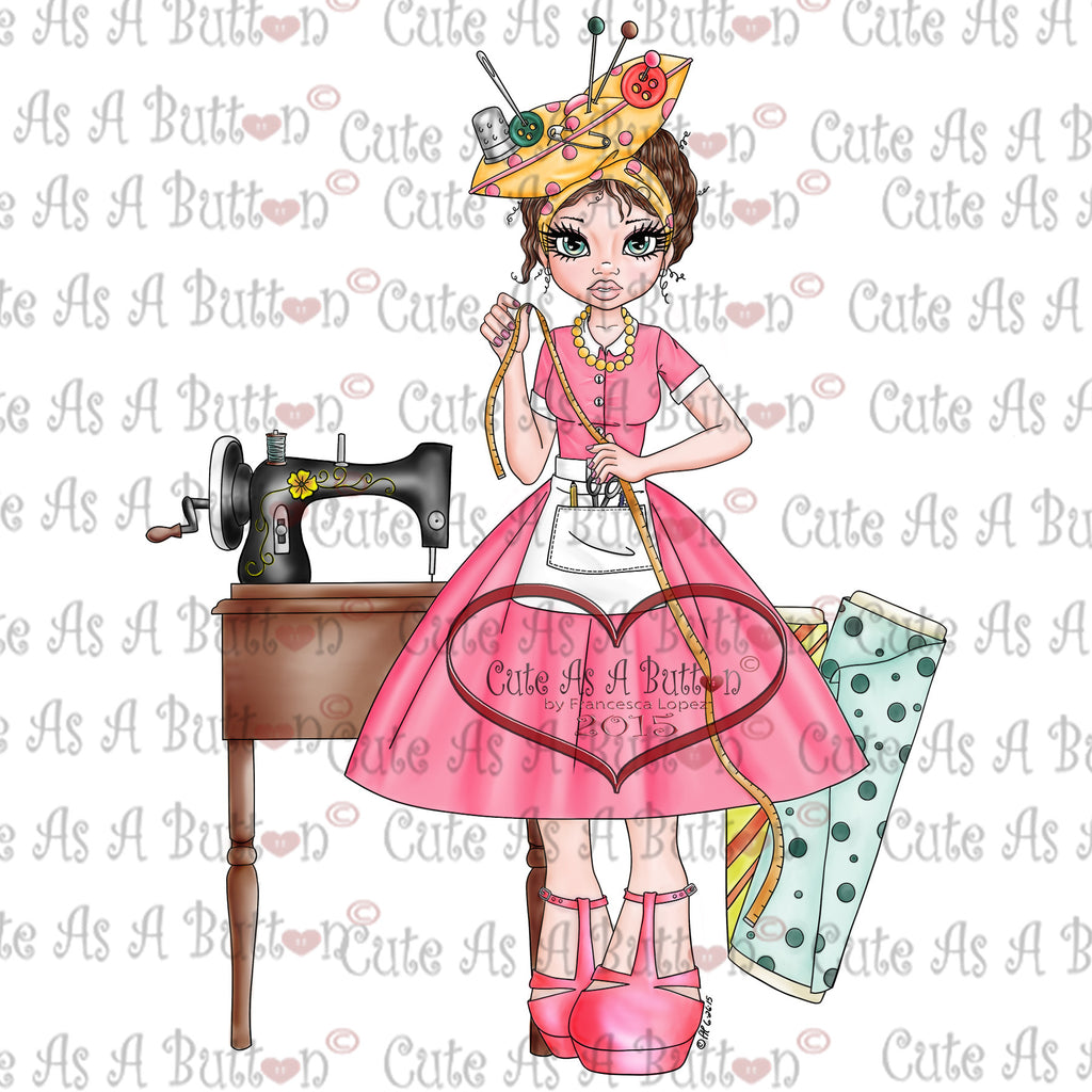 Cute As A Button Digistamps IMG00309 Pre-ColoredSewing Susan Digital Stamp