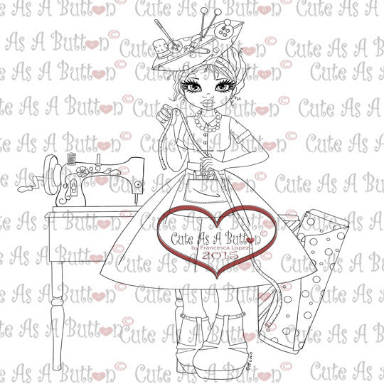 Cute As A Button Digistamps IMG00309 Sewing Susan Digi Stamp