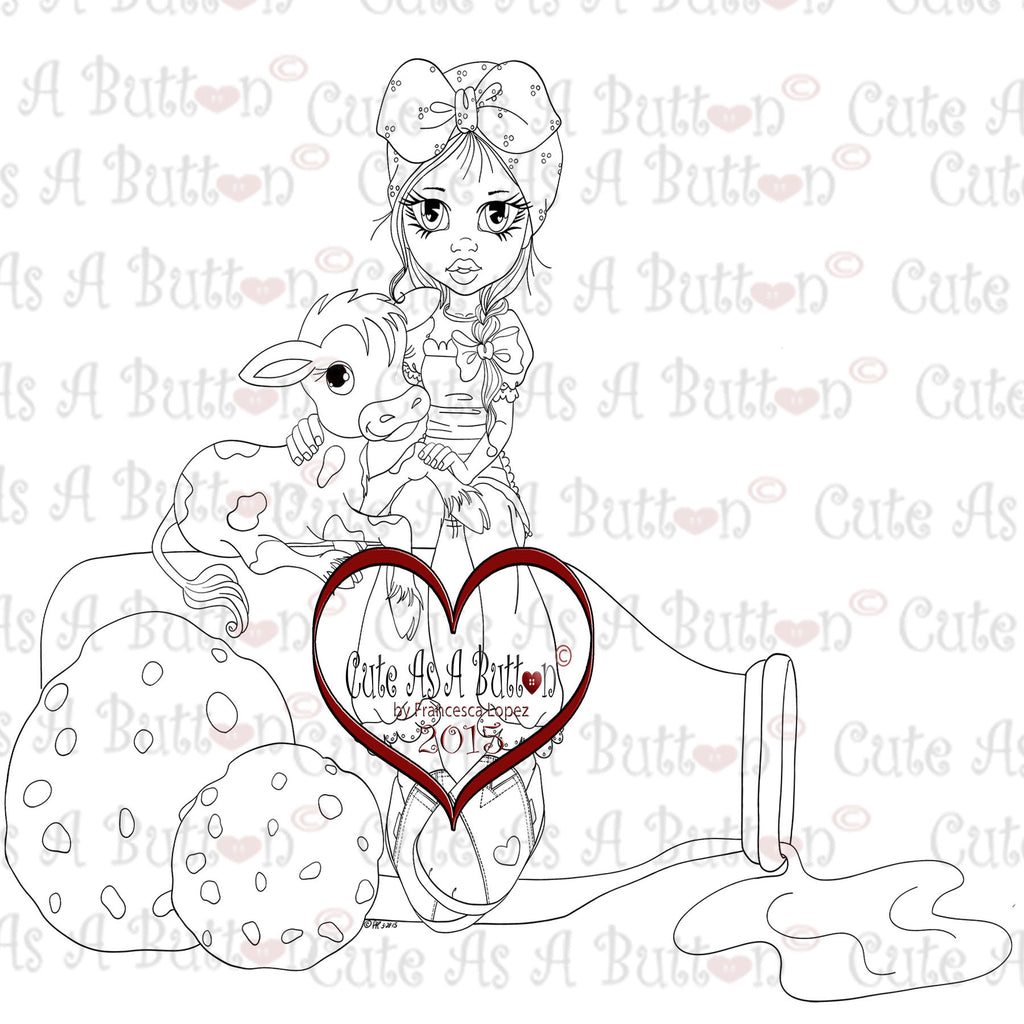 Cute As A Button Digistamps IMG00321 Milk and Cookies Digi Stamp