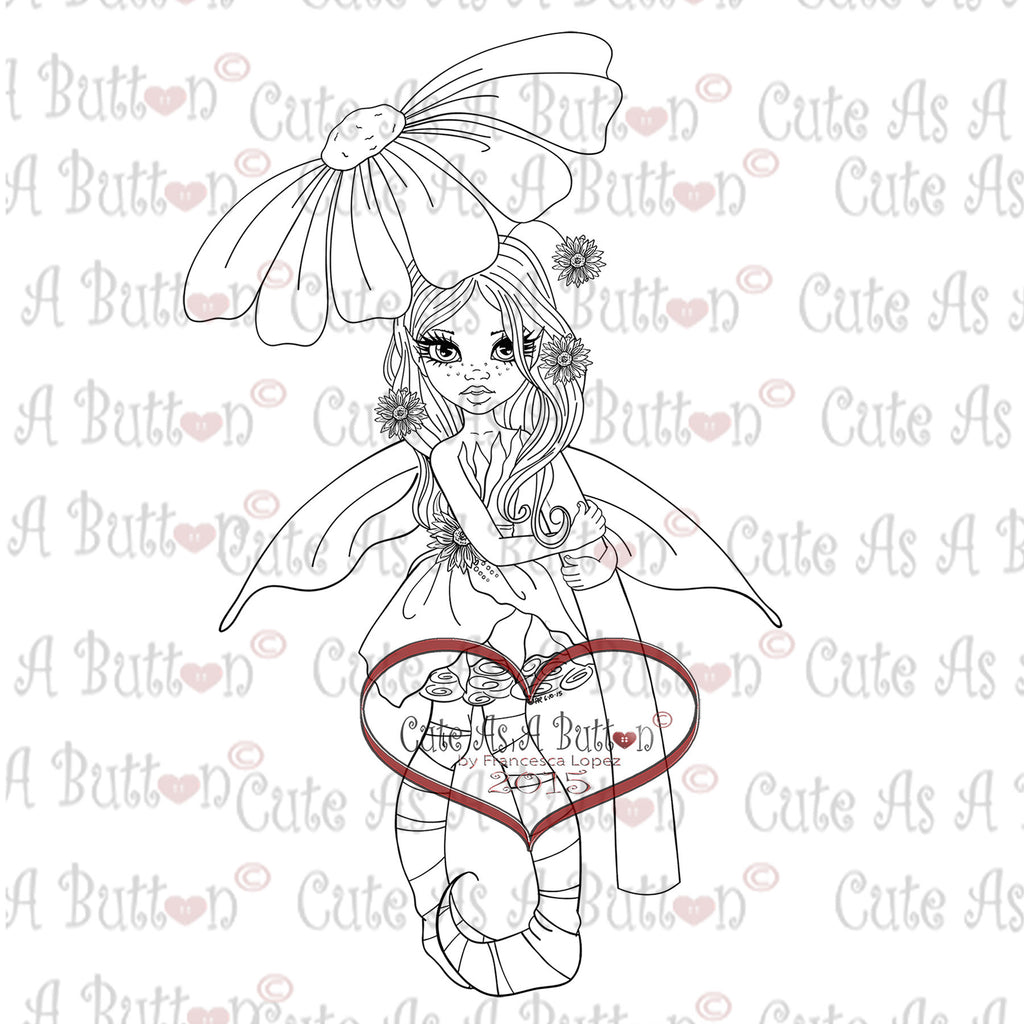 Cute As A Button Digistamp IMG00322 Sunflower Fairy Digi Stamp