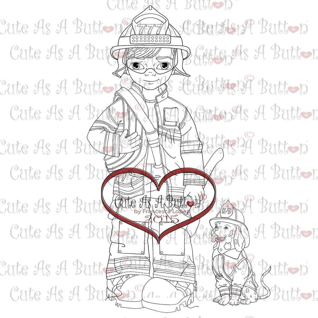 Cute As A Button Digistamps IMG00331 Firefighter Digital Stamp