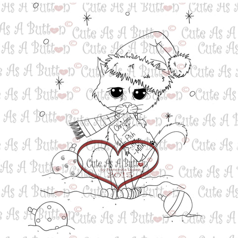 IMG00340 Kitty Christmas List Digital Digi Stamp