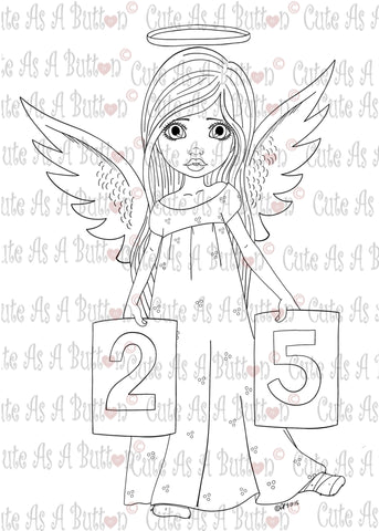 IMG00344 Christmas Angel - Bible Journaling  Bookmark Digital Digi Stamp