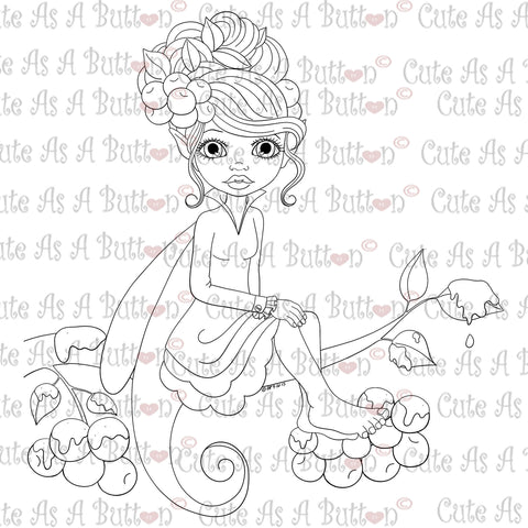 Cute As A Button Digistamps IMG00345 Christmas Holly Fairy Digital Digi Stamp