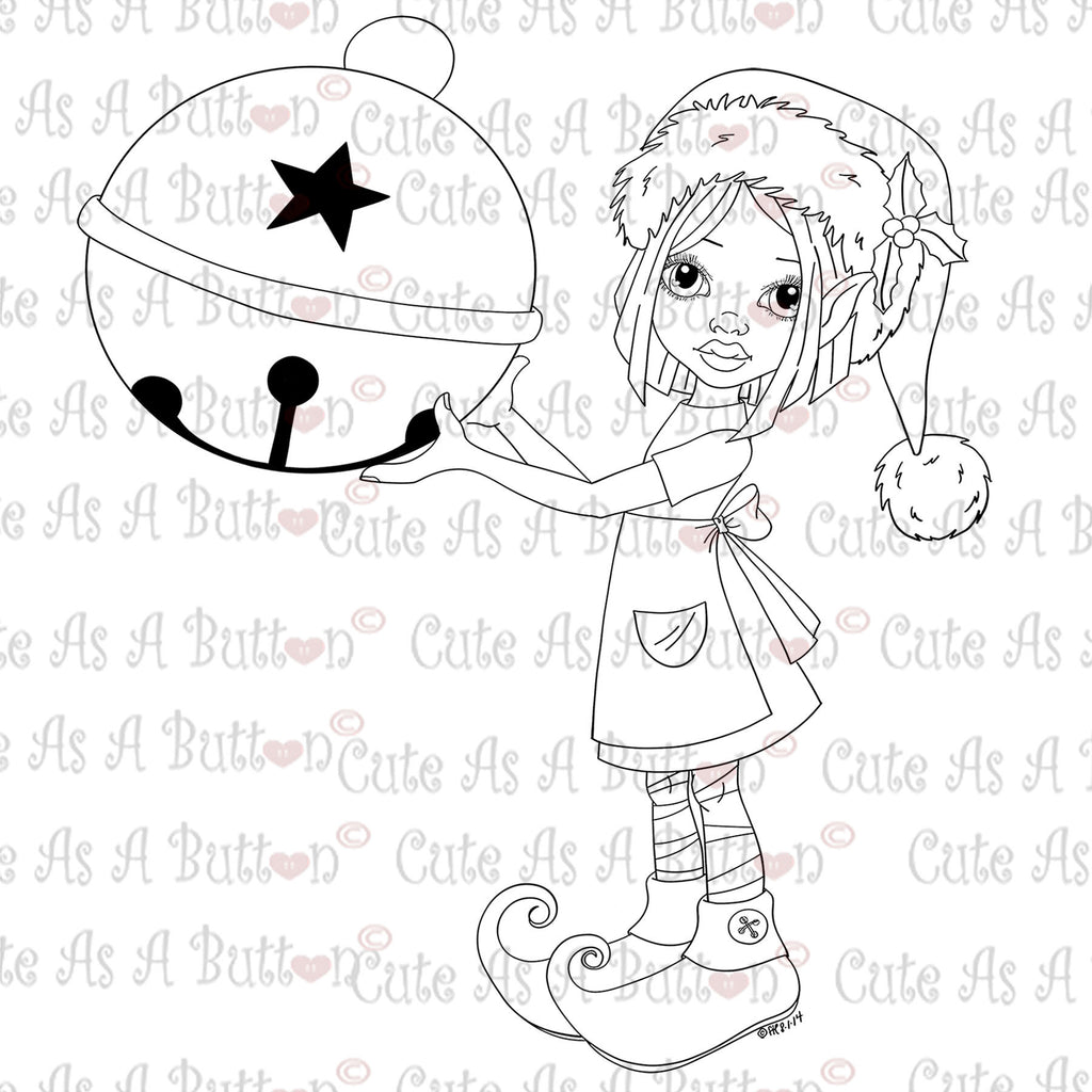 Cute As A Button Digistamps IMG00354 Deck the Halls Digital Digi Stamp