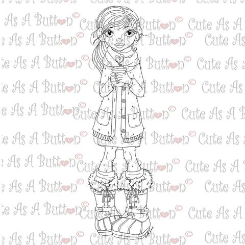 Cute As A Button Digistamps IMG00355 Italy Winter Espresso Digital Digi Stamp