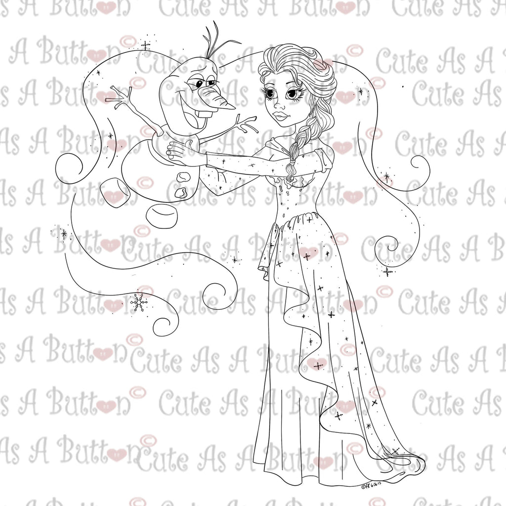Cute As A Button Digistamps IMG00357 Elsa and Olaf Digital Digi Stamp