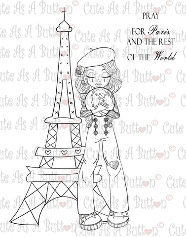 Cute As A Button Digistamps IMG00361 Pray for Paris and the World Do Digital Digi Stamp