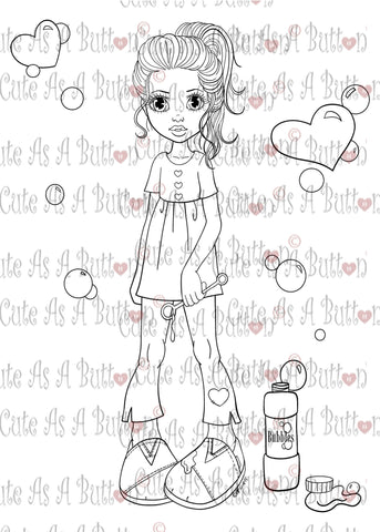 Cute As A Button Digistamp IMG00373 Bubble Love Digital Digi Stamp