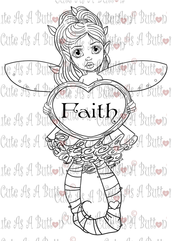 Cute As A Button Digistamp IMG00374 -377 Faith Fairies Bundle Digital Digi Stamp