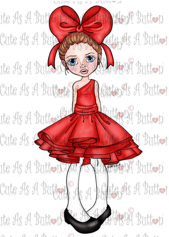 Cute As A Button IMG00378 Pre-Colored Heart Bow Digital Digi Stamp