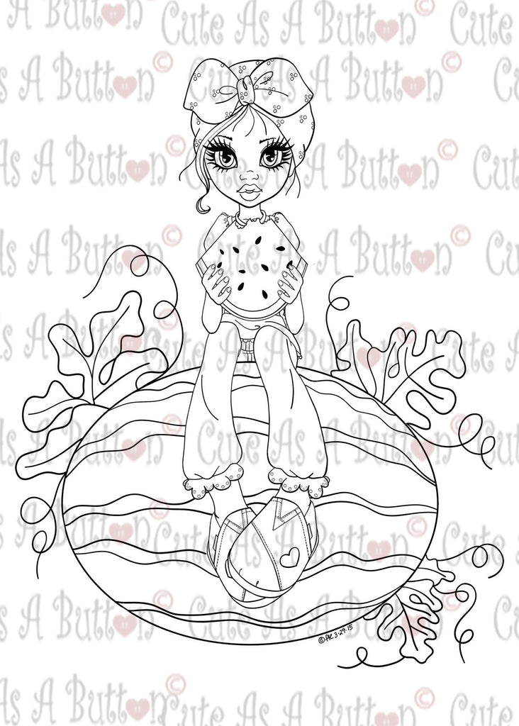 Cute As A Button Digistamp IMG00383 Watermelon Patch Digital Digi Stamp