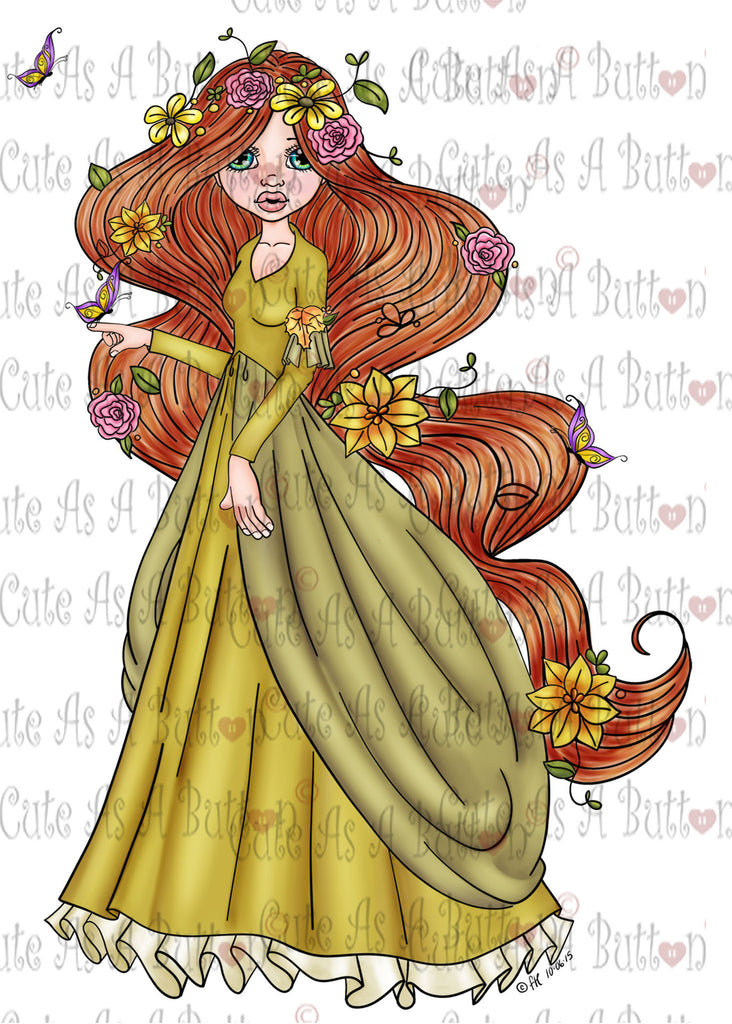 Cute As A Button IMG00384 Pre-Colored Mother Nature Digital Digi Stamp