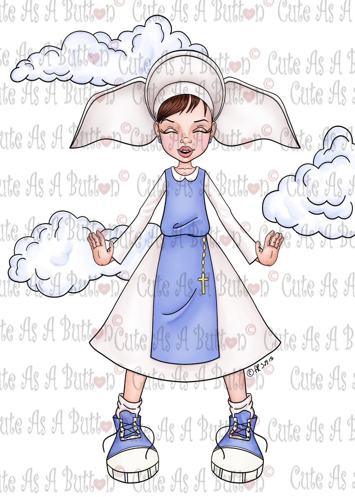 Cute As A Button IMG00386 Pre-Colored Flying Nun Digital Digi Stamp
