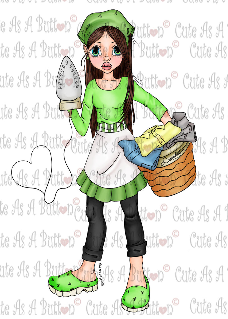 Cute As A Button IMG00392 Pre-Colored LAUNDRY DAY Digital Download