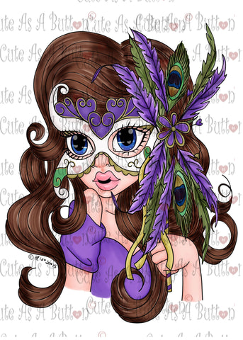 Cute As A Button Designs IMG00401 Pre-ColoredVENICE MASK Digital Download