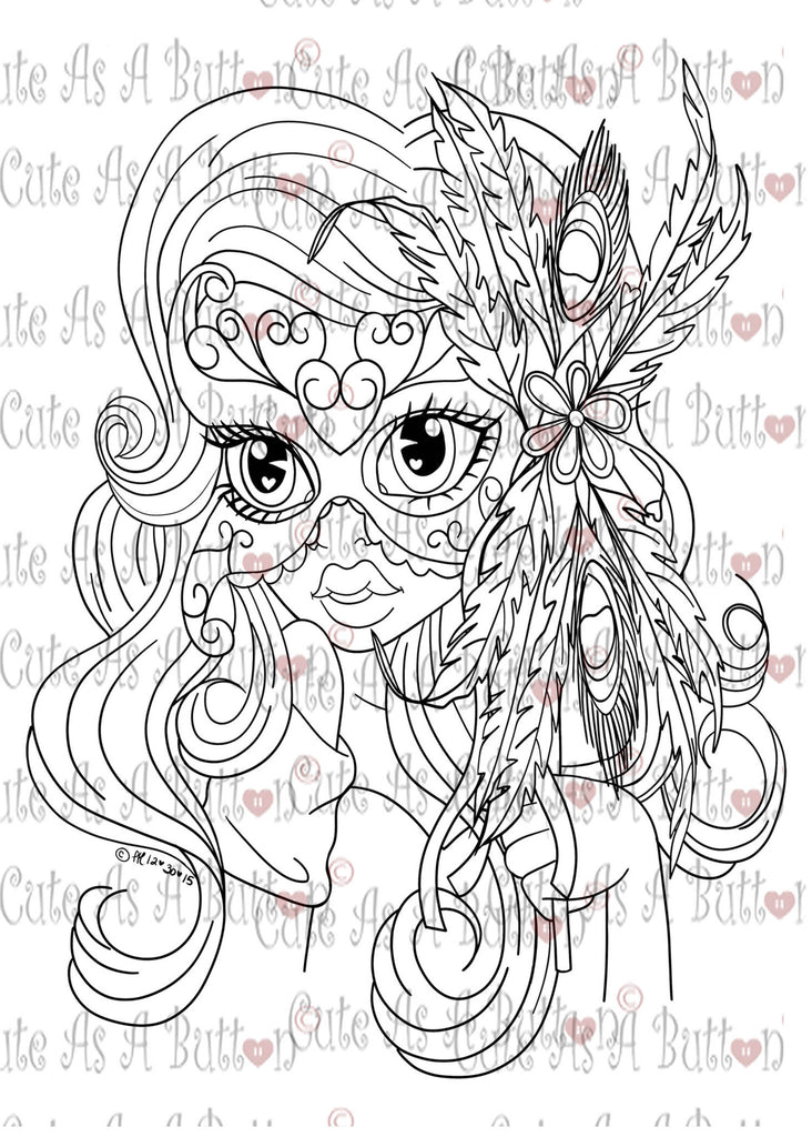 Cute As A Button Designs IMG00402 Venice Mask Digital Digi Stamp