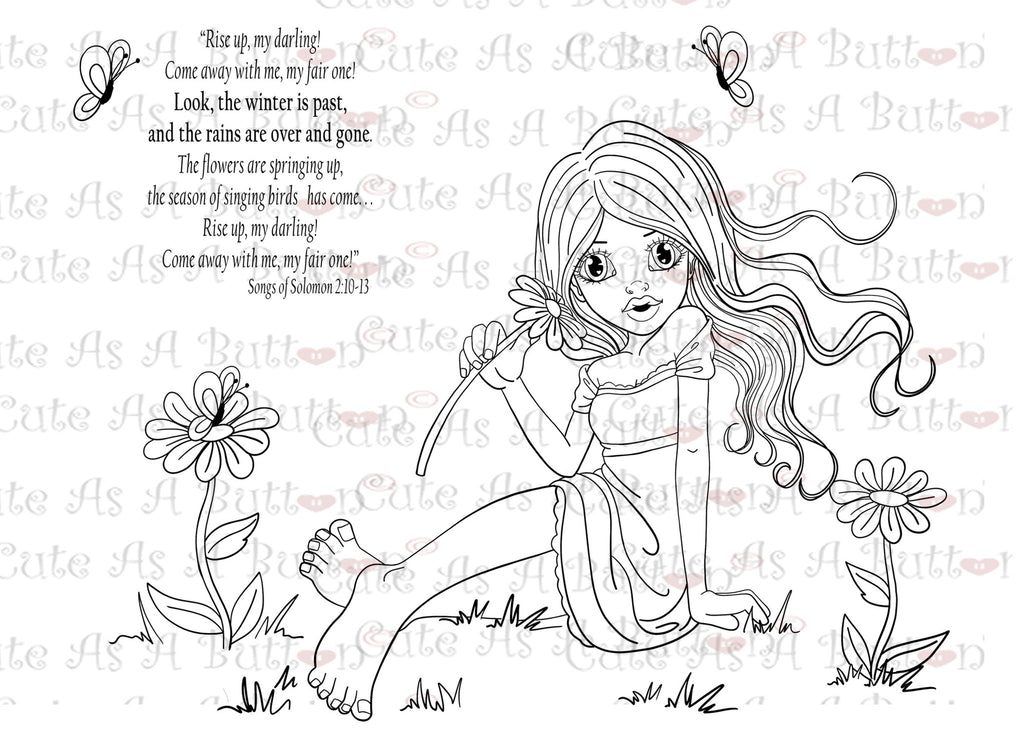 Cute As A Button Designs Bible-Journaling IMG00404 Rise Up My Love Digital Digi Stamp