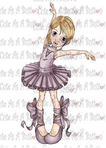 Cute As A Button Designs IMG00406 Pre-Colored BALLERINA Digital Download