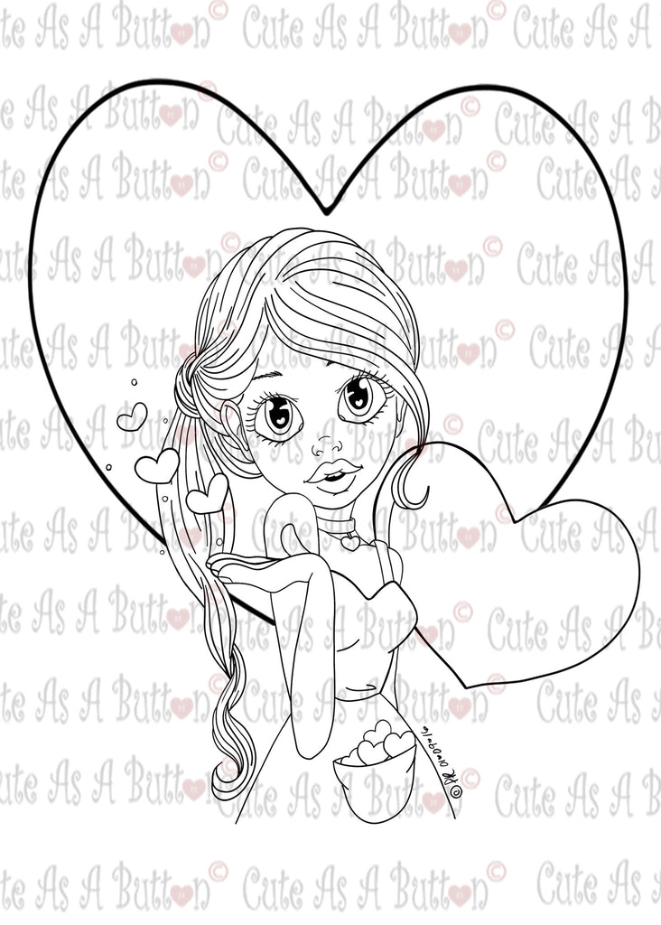 Cute As A Button Designs IMG0047 Kisses Digital Digi Stamp