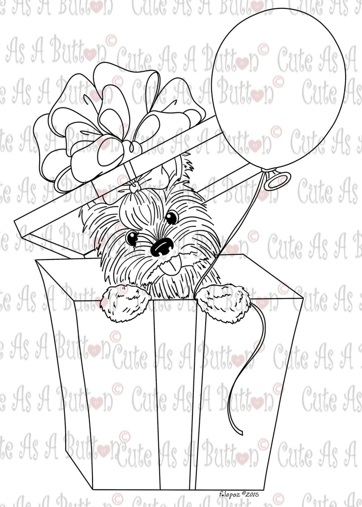 IMG00433 Birthday Yorkie Digital Digi Stamp