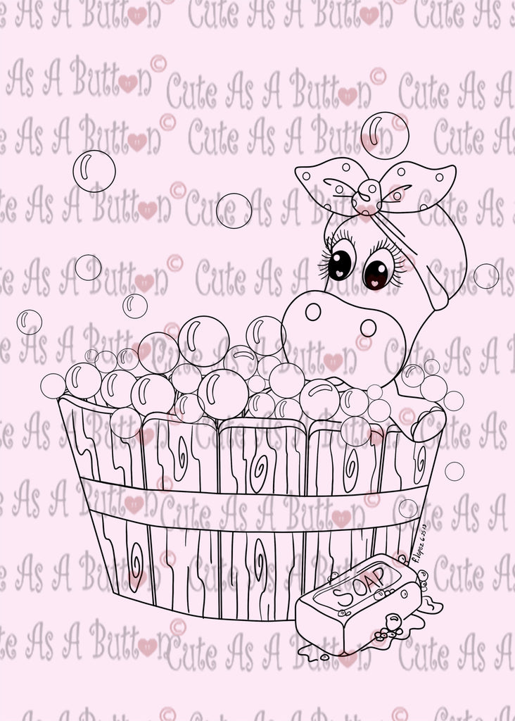 Cute As A Button Designs IMG00434 Henrietta Hippo Bubblebath Digital Digi Stamp