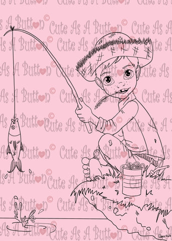 Cute As A Button Designs IMG00441 Fishing Digital Digi Stamp