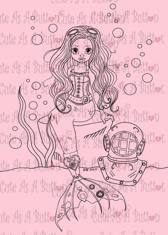 Cute As A Button Designs IMG00454 Steampunk Mermaid Digital Digi Stamp