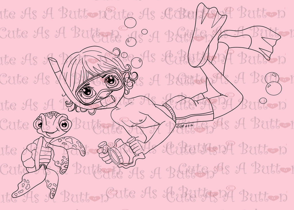 Cute As A Button Designs IMG00455 Snorkeling Boy Digital Digi Stamp