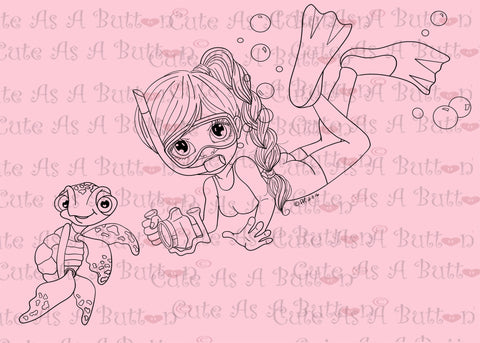 Cute As A Button Designs IMG00456 Snorkeling Girl Digital Digi Stamp
