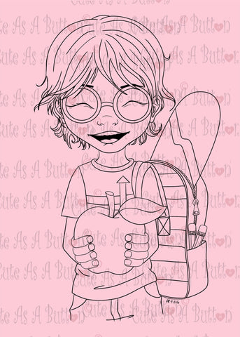 Cute As A Button Designs IMG00458 Teacher's Pet-Boy Digital Digi Stamp