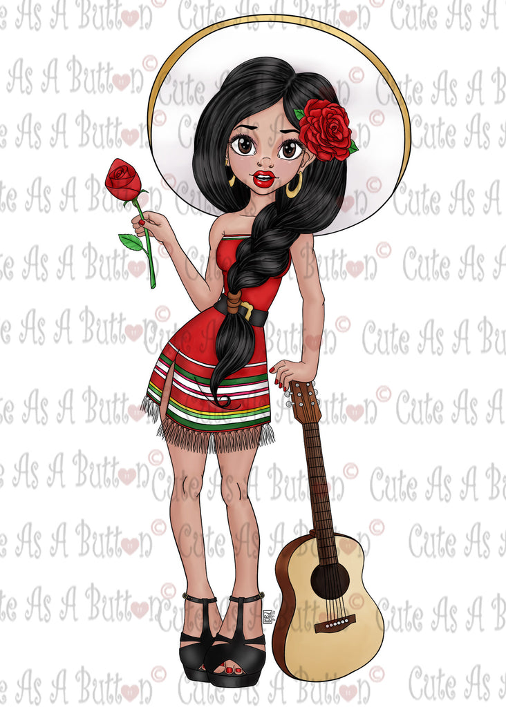 Cute As A Button Designs IMG00468-mexican-beauty-Pre-Colored Digital Download