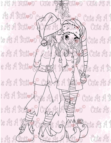 Cute As A Button Designs IMG00486 Mistletoe Kiss Digital Digi Stamp